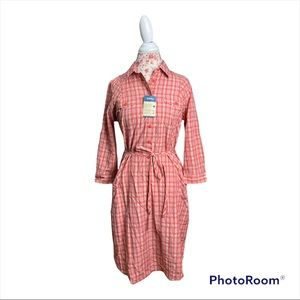 NWT Duluth Trading Armachillo Cooling Plaid Dress in Cream and Orange
